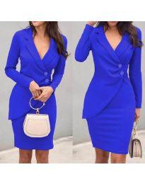 Елегантна рокля с имитация на сако в синьо - код 540