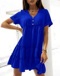 Свободна къса рокля в тъмносиньо - код 7205