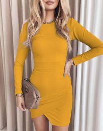 Стилна дамска рокля в цвят горчица - код 2835