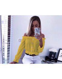 Кокетна дамска риза в цвят горчица - код 7126