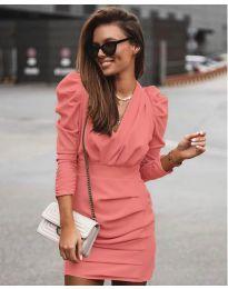 Елегантна рокля в цвят корал - код 870