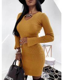 Дамска рокля в цвят горчица - код 5666