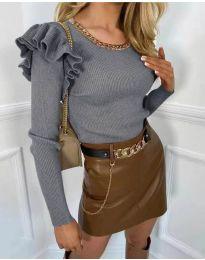 Атрактивна дамска блуза в сиво - код 8865