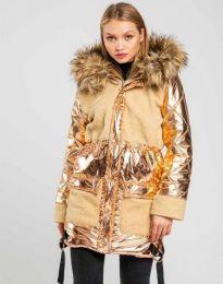 Атрактивно дамско яке в цвят капучино - код 0464