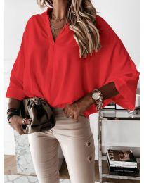 Изчистена дамска риза в червено - код 5081