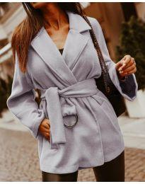 Дамско късо палто в сиво - код 8282