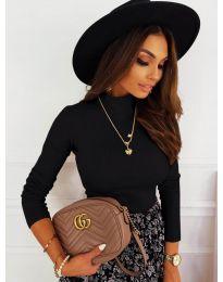 Дамска блуза с поло яка в черно - код 7071