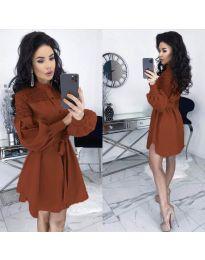 Елегантна рокля в кафяво - код 6364