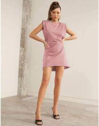Свободна къса дамска рокля в цвят пудра - код 625