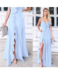 Дълга рокля с цепка в светло синьо - код 4488
