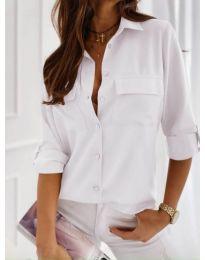 Класическа дамска риза в бял цвят - код 450