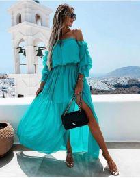 Атрактивна дамска рокля в цвят тюркоаз - код 6624