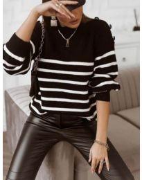 Свободна дамска блуза в черно на райе - код 9525