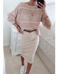 Дамска плетена блуза в розово - код 2538
