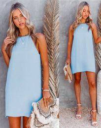 Свободна дамска рокля в светлосиньо - код 2169