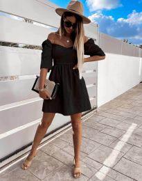 Дамска рокля с голи рамене в черно - код 7413