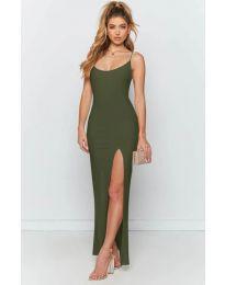 Дълга рокля с цепка в маслено зелено - код 715