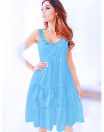 Свободна рокля с дантела в светло синьо - код 3232