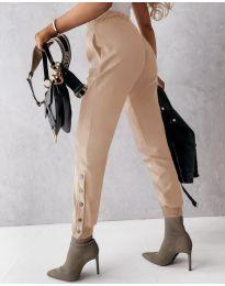 Модерен дамски панталон в бежово - код 3987
