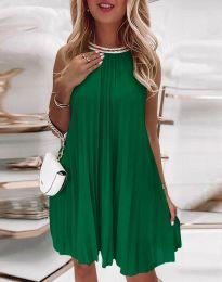 Дамска плисирана рокля в зелено - код 0889