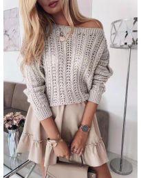 Къса плетена блуза в сиво - код 917