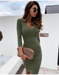 Изчистена рокля в маслено зелено - код 4040