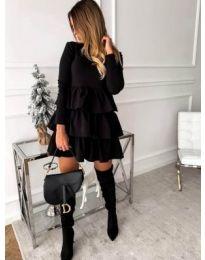 Ефектна рокля с набори в черен цвят - код 966
