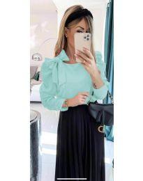 Стилна дамска блуза с пандела на рамото в мента - код 890