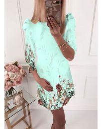 Елегантна рокля с флорални мотиви в мента - код 240