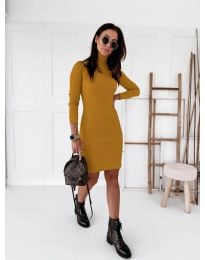 Дамска рокля в цвят горчица - код 5696