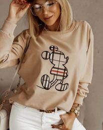 Дамска блуза в бежово с принт - код 2959