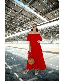 Дълга рокля в червен цвят - код 3636