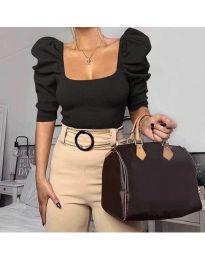 Дамска блуза с бухнали ръкави в черно - код 9867