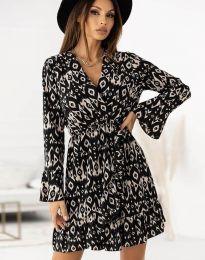 Дамска рокля с ефектен десен - код 2726 - 2
