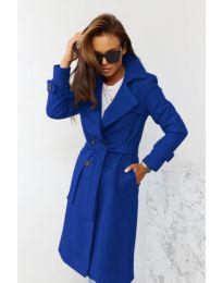 Дамско палто с колан в  синьо - код 1500