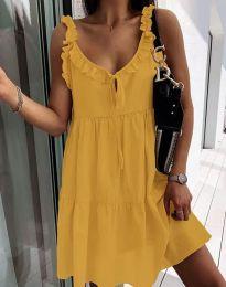Дамска рокля в цвят горчица - код 2540