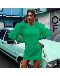 Ефектна дамска рокля в зелено - код 6383