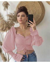 Блуза с ефектни ръкави в розово - код 896