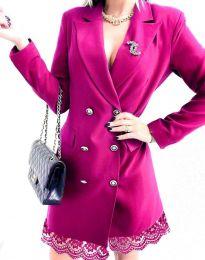 Дамска рокля тип сако в цвят циклама - код 6955