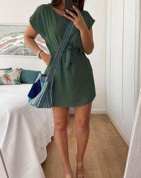 Дамска рокля в масленозелено - код 2258