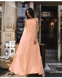 Ефирна дълга рокля в цвят розово - код 1105