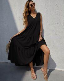 Свободна дълга рокля в черно - код 8149