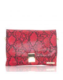 Дамска чанта със змийски десен в червено - код DM-04