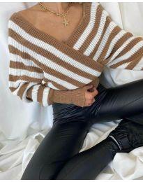 Дамски пуловер с кафяво райе - код 0661