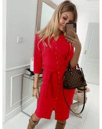 Ежедневна рокля с капси в червено - код 320
