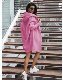 Дълга плетена жилетка в розово - код 053
