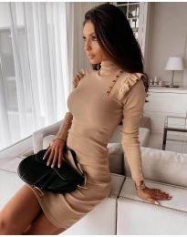 Елегантна рокля по тялото в бежово - код 8484