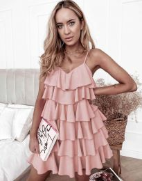 Лятна рокля в цвят пудра - код 8190