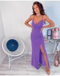 Лилава дълга рокля с цепка - код 600
