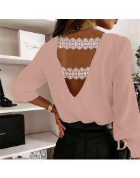 Елегантна дамска блуза в цвят пудра с ефект на гърба - код 5155